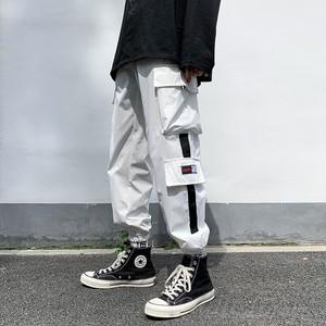 【メンズファッション】ストリート系配色レギュラー丈切り替えレギュラーウエストカジュアルパンツ41595450