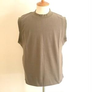 BSQ Crew Neck Vest with Side Slits Pocket Khaki