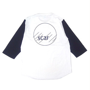 scar /////// CIRCLE BASEBALLl 3/4 SLEEVE TEE (White / Navy)