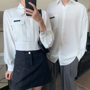 【トップス】「*ユニセック」韓国系無地ギャザー飾り長袖シャツ42584403