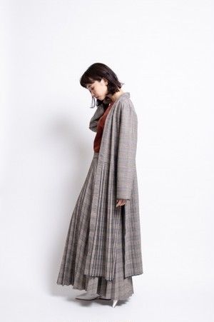 il - pleats cardigan/check