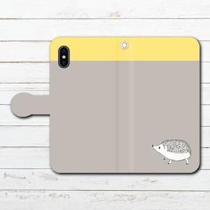 #053-020 iPhoneケース スマホケース 手帳型 全機種対応 シンプル 可愛い iPhoneXS/X Xperia iPhone5/6/6s/7/8 ケース おしゃれ Galaxy ARROWS AQUOS HUAWEI Zenfone タイトル:シンプルハリネズミ(黄) 手帳型iPhone,Androidケース 作:Hanami