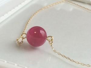 天然石ピンクメノウの一粒ネックレス