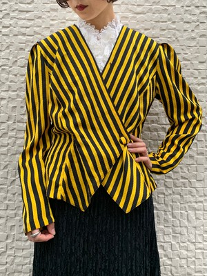 (TOYO) stripe pattern no collar jacket