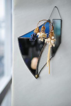 ステンドグラスミラー 花器融合型
