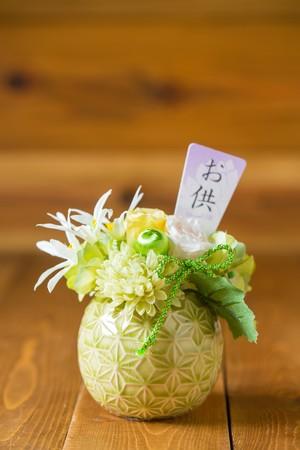 NEW【お盆・お供え・仏花】杏奈-お供えプリザーブドフラワー(グリーン)