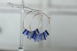 ガラスのフリンジピアス ブルー (14kgf)