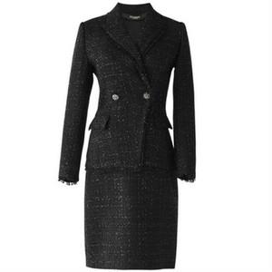 スーツセットアップ/ツイードジャケット+スカートブラック