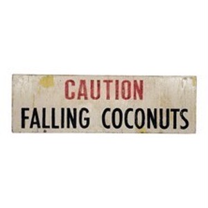CAUTION FALLING COCONUTS SIGN