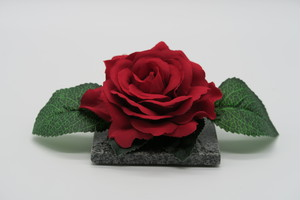 咲く石シリーズ 『一輪のバラ』大輪赤と青