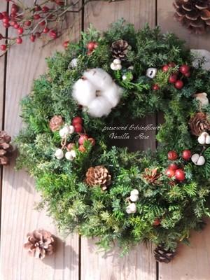 小さなクリスマスリース(直径23cm)/プリザーブドグリーン/ドライ木の実/クリスマス飾り/クリスマスギフト/キャンドルリース【受注制作】【お届け日指定可能】
