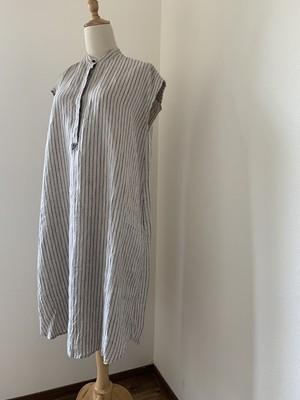 Linen スタンドカラーシャツワンピース