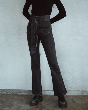 RIBBON HIGH WAIST STRETCH DENIM PANTS