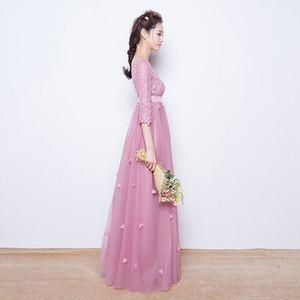 大人ピンクの可愛いパーティードレス マキシ丈 七分袖 結婚式