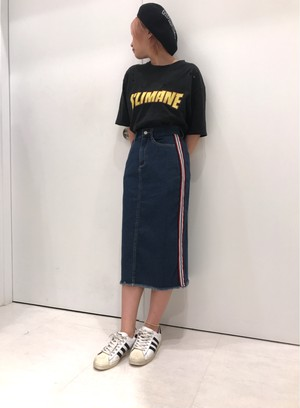 ☆SALE☆10ozデニム/マルチライン/フリンジスカート/ブルー/202-834012