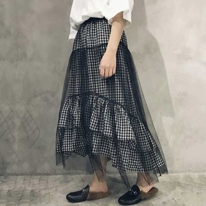 【bottoms】チェック柄カジュアルハイウエストAラインスカート14499466