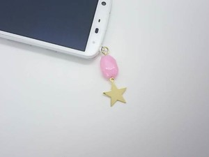 天然石&星 ピンク イヤホンジャック(変更可)