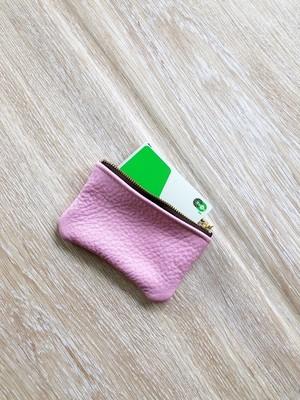 ポーチ 本革 シュリンク ベビー ピンク カードケース コインケース 小物入れ