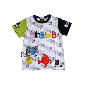 BARBAPAPA×gramo コラボ プラシャツ「pass」(ブラック×イエロー/P-028) ※110cm~150cm