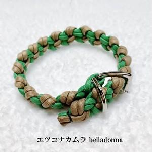 グリーン&モカの綿ロープマクラメ編み犬首輪ドッグカラー