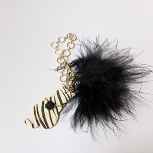 Zebra Cat Bagcharm Black with Mizuhiki