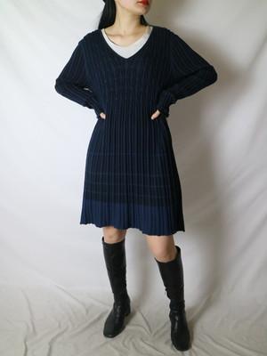rib knit midi design dress【0810】