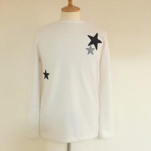 Star Patchwork Crew Neck Knit sewn White