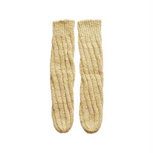 シルク&コットンのねじり編み靴下・Pale yellow