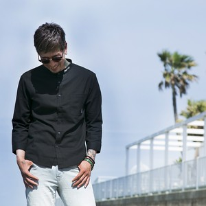 "【HEDWiNGサイト限定】No collar ""Hemp"" shirt  Black"