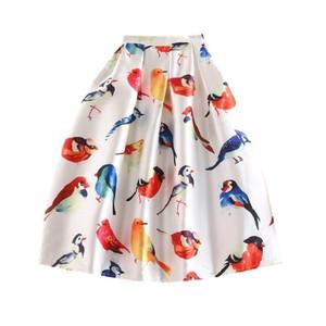 RIMI&Co. SELECT プリントサテンフレアースカート Bird