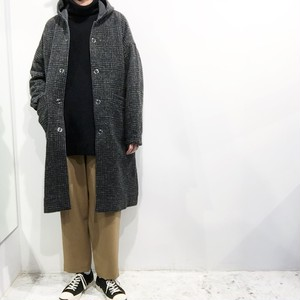 FIRMUM 【フィルマム】 WOOL & COTTON GLEN CHECK DOUBLE CLOTH Hooded coat