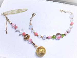 天然石帯飾り・羽織紐「葉桜の咲く頃」