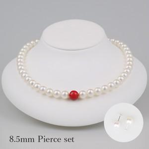 丹頂85P-set(Tanchou)【Akoya8.0-8.5mm/Coral9mm】Necklace & Pierce set