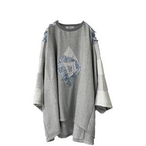 Wide-T-shirts PW (grey×inbi blue)