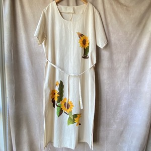 80s USA vintage hand painted 'sunflower' linen dress/手描きひまわりのリネンワンピース