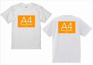 半袖ホワイトTシャツ-両面プリントA4サイズまで