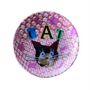 【UPCYCLE】 DECOPAGE PLATE CAT RED