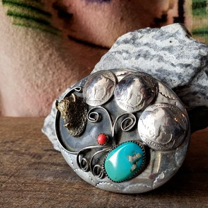 Handcrafted German Silver Turquoise Belt Buckle