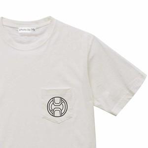 カメラレンズキャップ柄 ポケット付き 半袖Tシャツ OFF-WHITE