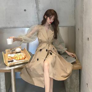 【アウター】初秋新作入荷INSファッション切り替えメッシュランタンスリーブ収束ロングトレンチコート