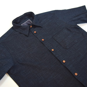 "HAKOU""波光"" パッチワーク ウッドボタン S/S シャツ 半袖  Patchworks Shirts w/wood buttom"