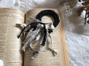 裂き布のシュシュ cotton pearl  (ブラック×ベージュ)