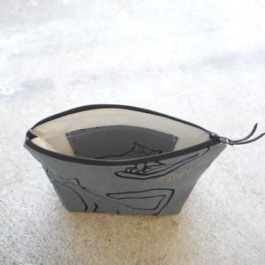【ハンドメイド】舟型 ポーチ(ネコ柄)