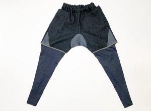 19SS 甘織りウール&ニットサルエルイージーショートパンツ / Loose weave wool & knit saruel easy pants