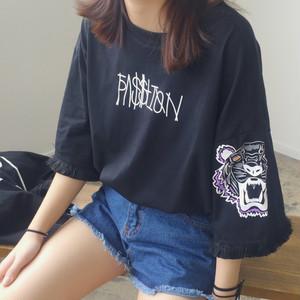 【トップス】カジュアル大人気アルファベットコットン半袖Tシャツ