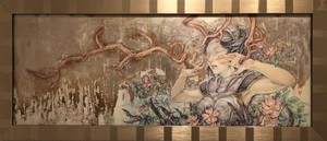 Hope Doe 「犬薔薇」イメージ87.7×33cm 油彩、鉛筆、銀箔