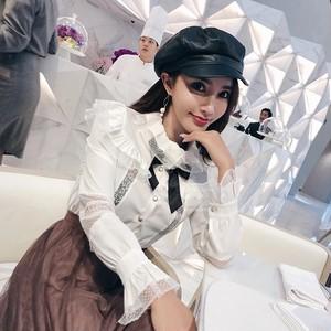 【即納】elegant bust frill blouse