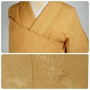 未使用 辻が花 汕頭刺繍 紋意匠 色無地 正絹 紋なし 小麦色 黄色 432