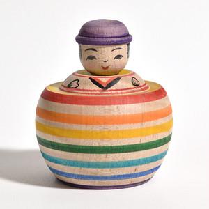 えじこちゃんこけし(レインボー) 約2寸 約6.7cm 山谷レイ 工人(津軽系)#0037