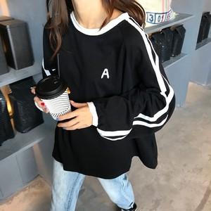 【トップス】ラウンドネックプルオーバー配色Tシャツ